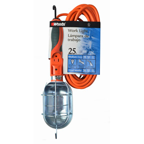 25' 16/3 METAL DROP LIGHT - ORANGE (75W BULB RATING)
