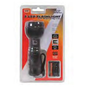 8 LED FLASHLIGHT WITH MAGNIFYING LENS