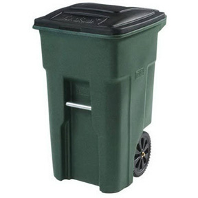 32 GAL GREEN ROLLOUT GARBAGE CAN