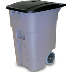 50 GAL GREY ROLLOUT GARBAGE CAN
