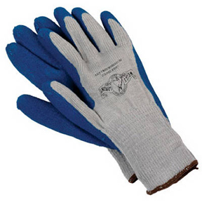 LARGE MENS BLUE LATEX COATED KNIT GLOVES