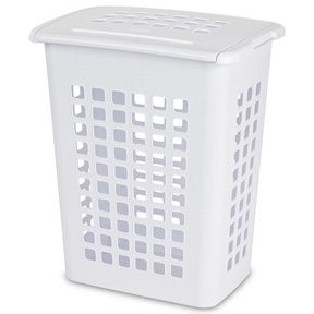 WHITE MEDIUM LAUNDRY BASKET WITH LID