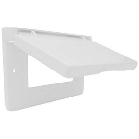 1 GANG WEATHERPROOF WHITE HORIZONTAL GFI FLIP COVER