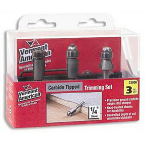 3PC CARBIDE TIPPED TRIMMING ROUTER BIT SET