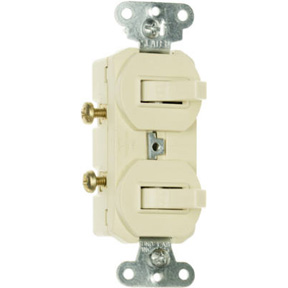 COMBINATION TWO 15A SINGLE POLE IVORY SWITCHES