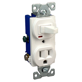 COMBINATION SINGLE POLE SWITCH & GROUNDED RECEPTACLE