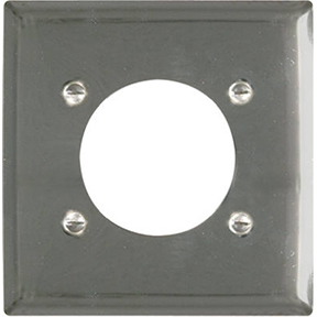2 GANG CHROME POWER RECEPTACLE WALLPLATE