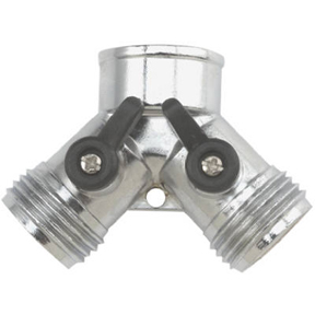 METAL Y HOSE CONNECTOR W/DUAL SHUTOFF