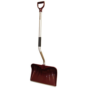 "20"" POLY BACKSAVER ALUMINUM D-HANDLE SNOW SHOVEL/PUSHER"