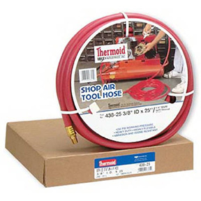 "3/8"" X 25' RED AIR HOSE W/MALE FITTINGS AT BOTH ENDS"
