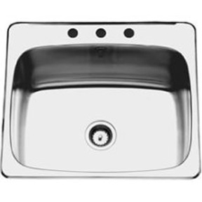 "25 X 22 S/S SINK 6"" DEEP 3 HOLE W/CLIPS"