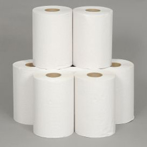 "8"" X 350' WHITE ROLL TOWEL  12 PER CASE"