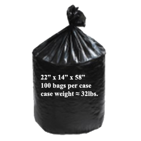 22X14X58 XXXX HD BLACK GARBAGE BAGS-100pk-#1122