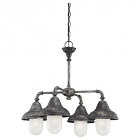 4-LIGHT CHANDELIER IN INDUSTRIAL IRON FINISH WITH
