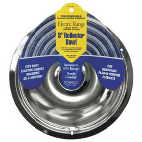 "8"" CHROME REFLECTOR BOWL FOR ELECTRIC RANGES"