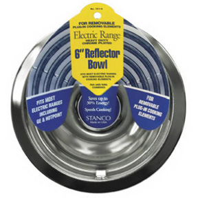 "6"" CHROME REFLECTOR BOWL FOR ELECTRIC RANGES"