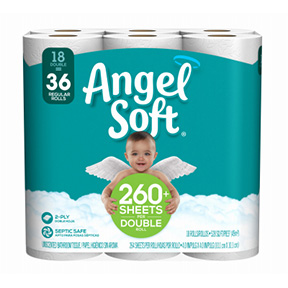 ANGEL SOFT DOUBLE ROLL TOILET PAPER 18 ROLLS 264 SHEETS PER