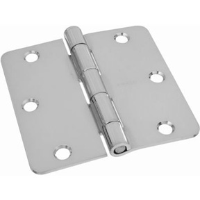 PAIR 3-1/2 X 3-1/2 SQUARE CORNER BUTT HINGE DULL CHROME
