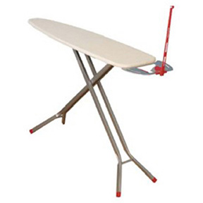 DELUXE SILVER SATIN IRONING BOARD WITH ATTACHED IRON REST