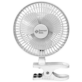 "COMFORT ZONE 6"" CLIP ON 2 SPEED WHITE PERSONAL FAN"