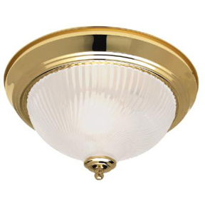 "11"" BRASS DOME LIGHT FIXTURE W/FROSTED GLASS"