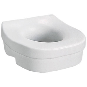 WHITE ELEVATED MOLDED PLASTIC TOILET SEAT