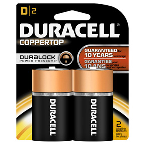 2 PK D DURACELL BATTERIES