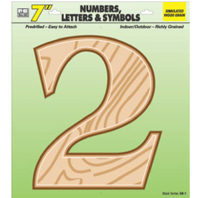 "7"" SIMULATED WOOD NUMBER 2"