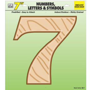 "7"" SIMULATED WOOD NUMBER 7"