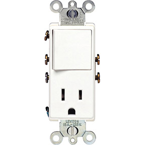 WHITE DECORA 15A COMBINATION SWITCH & OUTLET