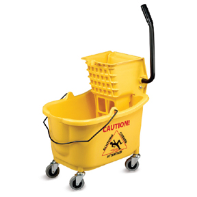 35qt YELLOW MOP BUCKET WITH SIDE PRESS WRINGER & WHEELS