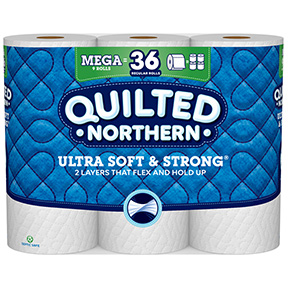 QUILTED NORTHERN 9 PACK MEGA  ROLL TOILET PAPER 328 SHEETS