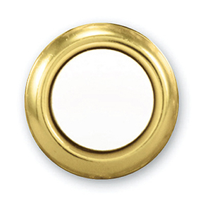 LIGHTED PEARL WHITE PUSH BUTTON WITH GOLD TRIM
