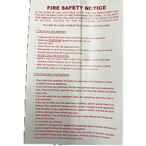 FIRE SAFETY NOTICE/SELF STICK IN THE EVENT OF FIRE