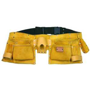11 POCKET LEATHER TOOL APRON W/WEB BELT