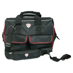 "16"" RED & BLACK TOOL BAG WITH OUTER SLIP POCKETS & PADDED"