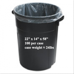 22x14x58 HEAVY CLEAR GARBAGE BAGS-100pk-#5328
